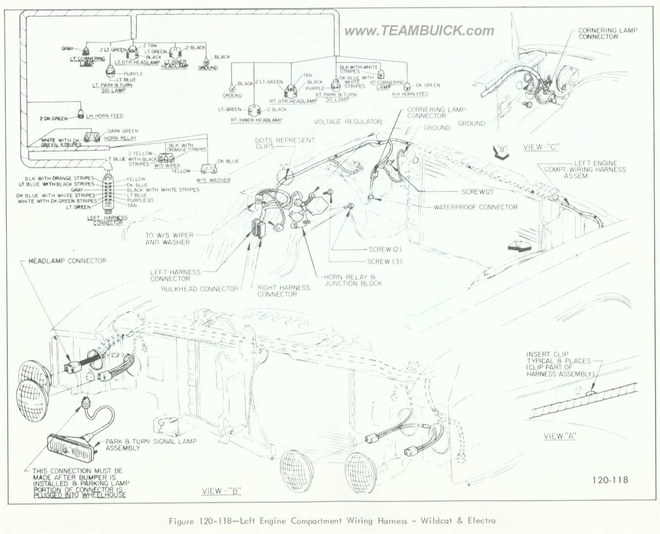 1966 buick wildcat wiring diagram corvette headlight and electra left engine compartment