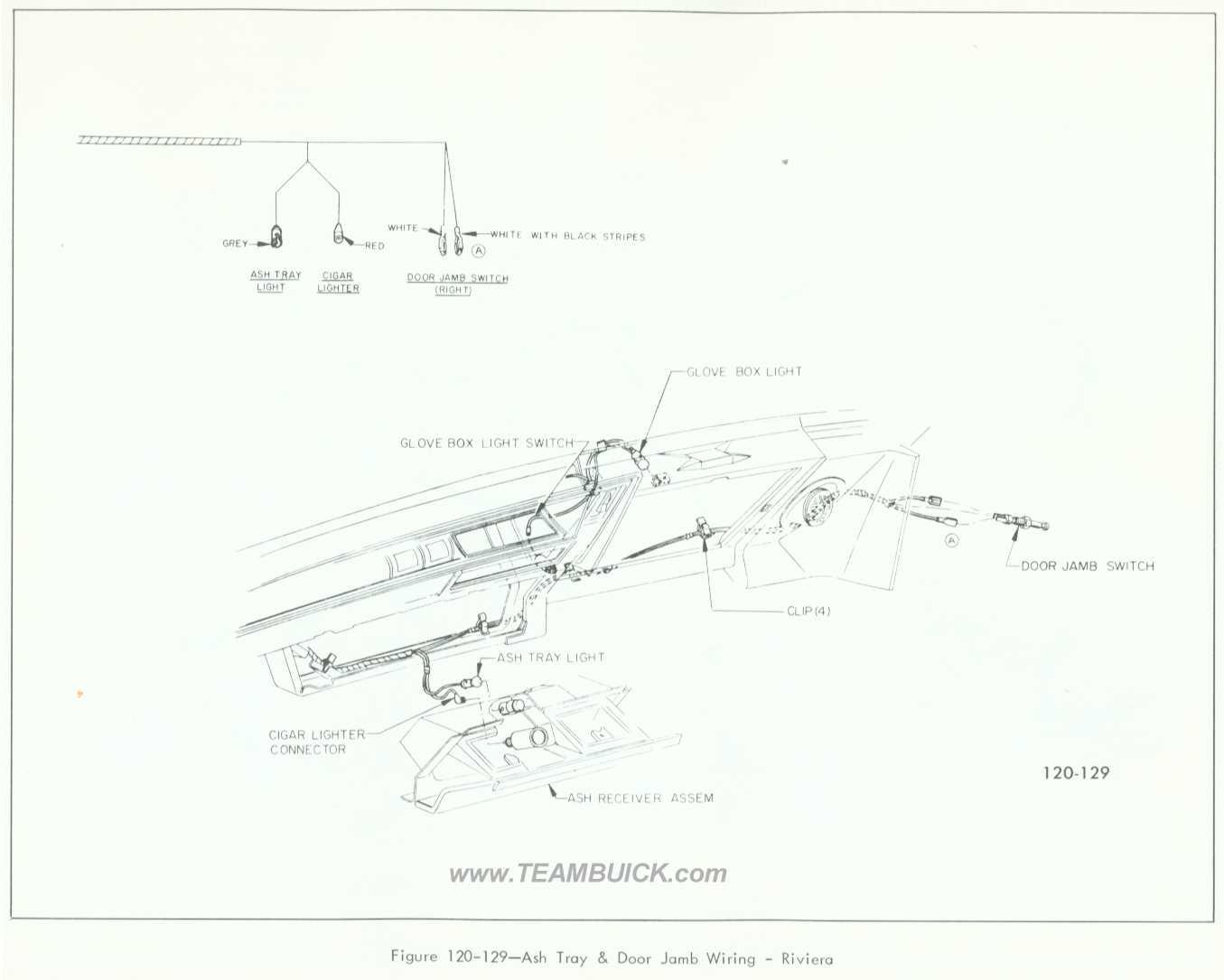 1966 Buick Riviera, Ash Tray and Door Jamb Wiring