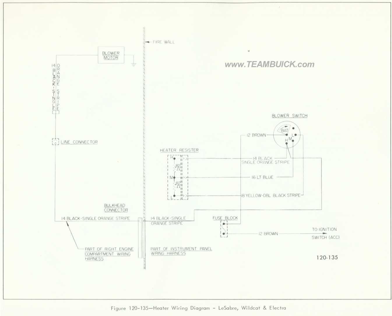 1966 Buick LeSabre, Wildcat, Electra, Heater Wiring Diagram