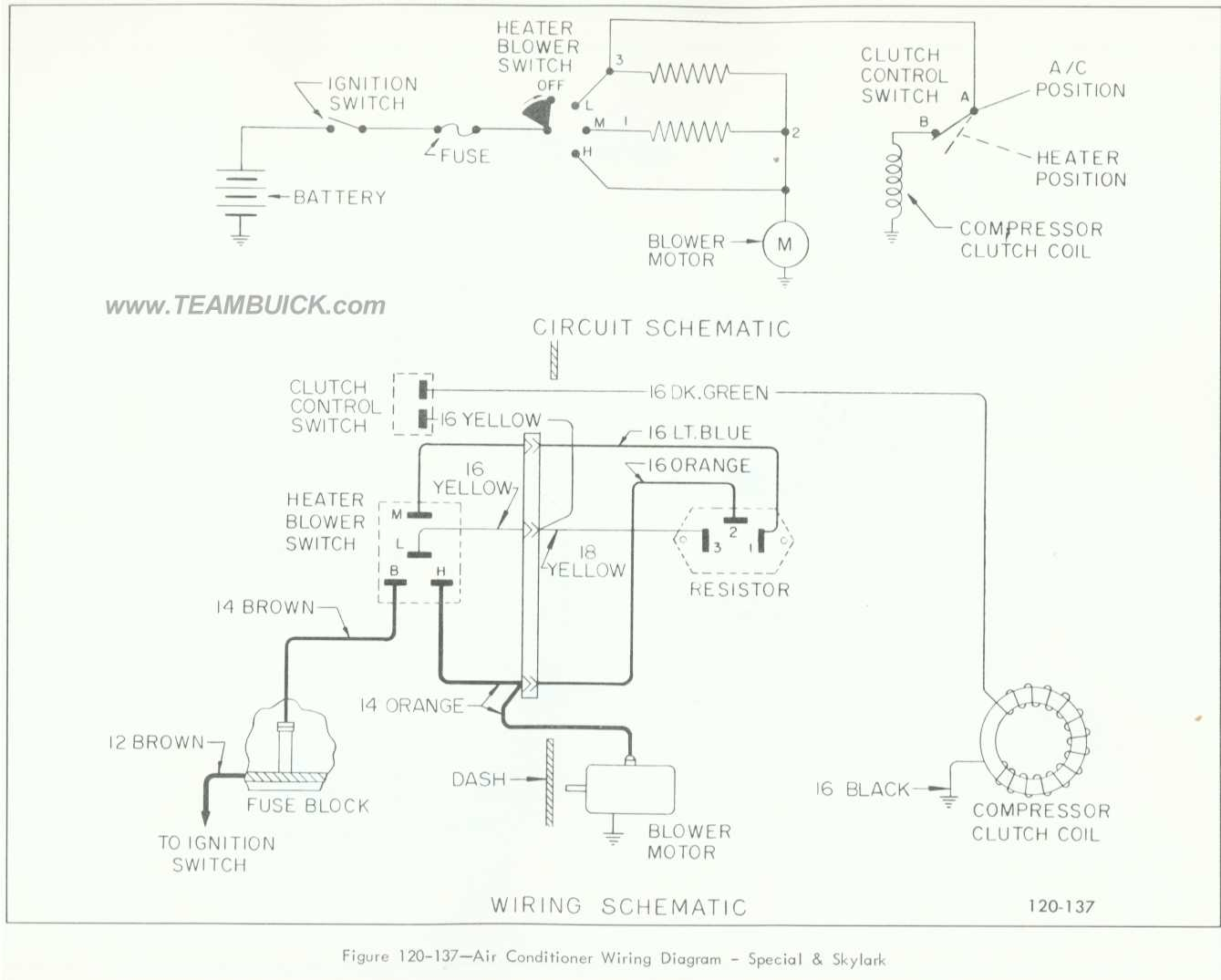 1966 Buick Special, Skylark, Air Conditioner Wiring Diagram