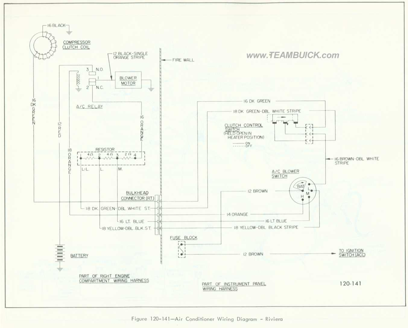 1966 Buick Riviera, Air Conditioner Wiring Diagram