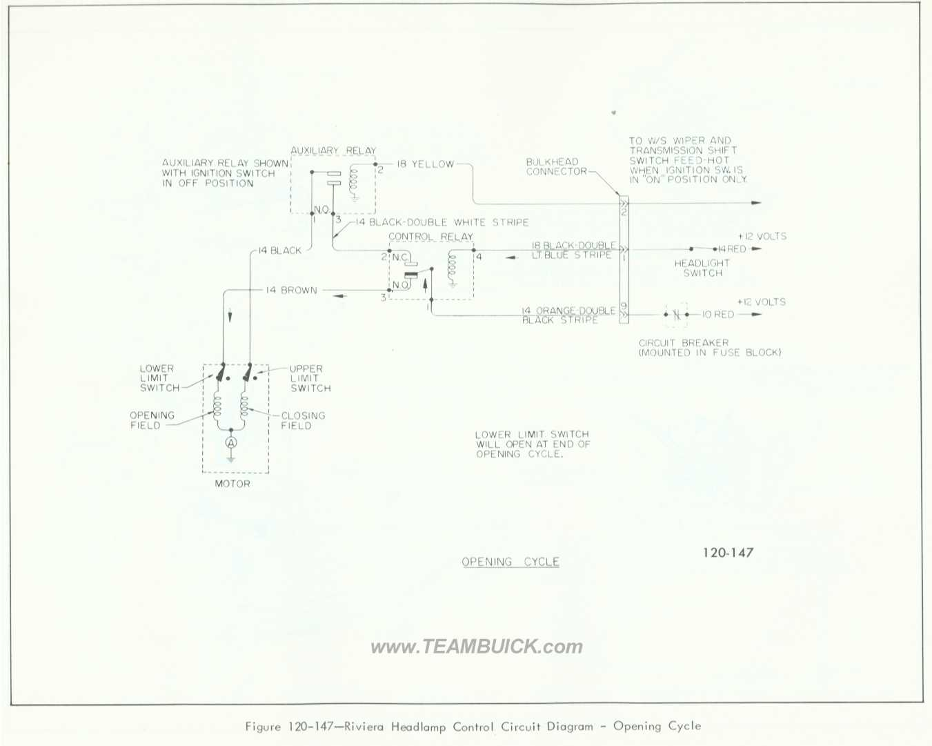 1966 Buick Riviera, Headlamp Control Circuit Diagram