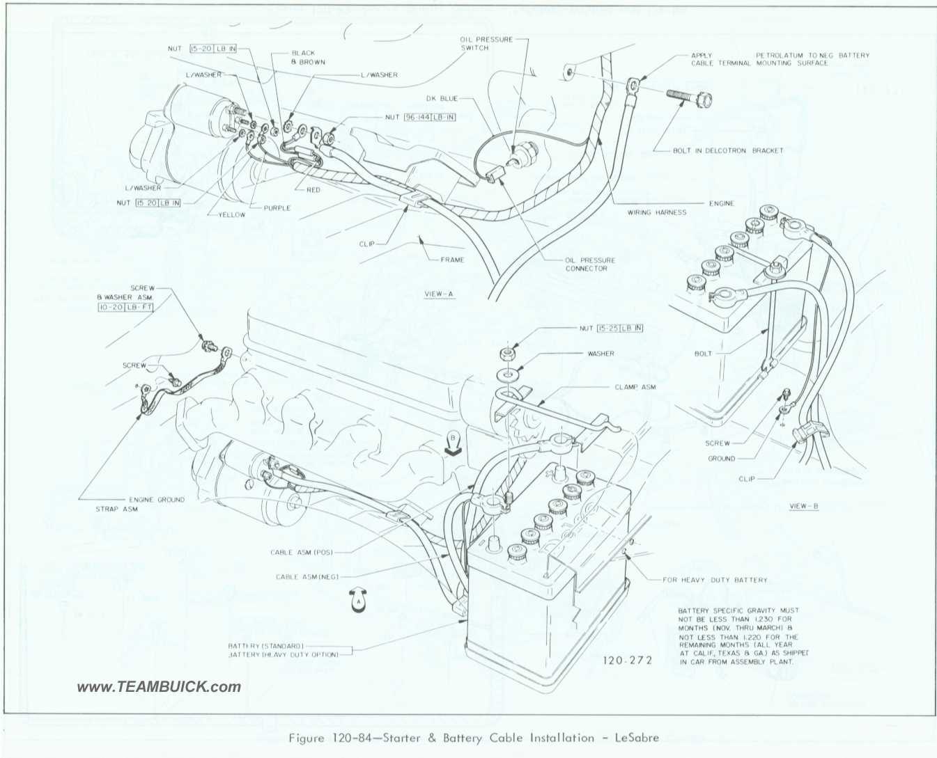 1967 Buick LeSabre, Starter and Battery Cable Installation