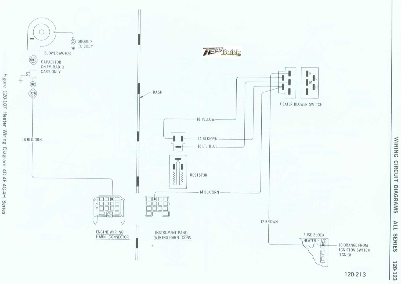 1972 Buick, Heater Wiring Diagram 4D-4F-4G-4H Series
