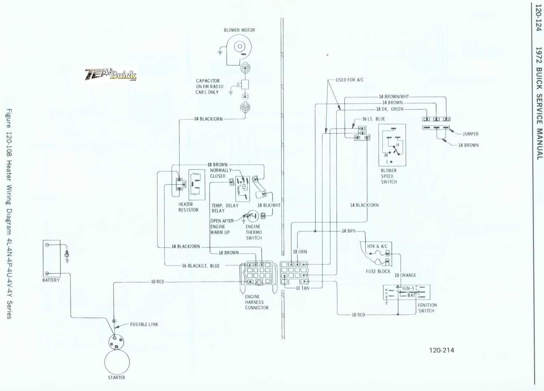 1972 Buick, Heater Wiring Diagram 4L-4N-4P-4U-4V-4Y Series