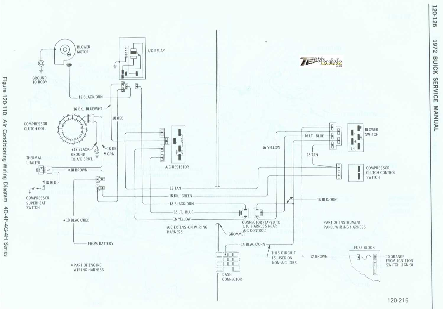 1972 Buick, Air Conditioning Wiring Diagram 4D-4F-4G-4H Series