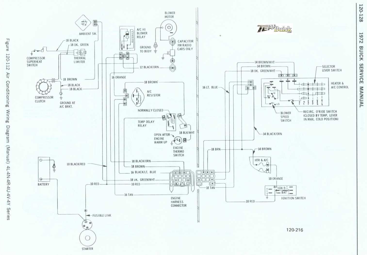 1972 Buick, Air Conditioning Wiring Diagram (Manual) 4L-4N