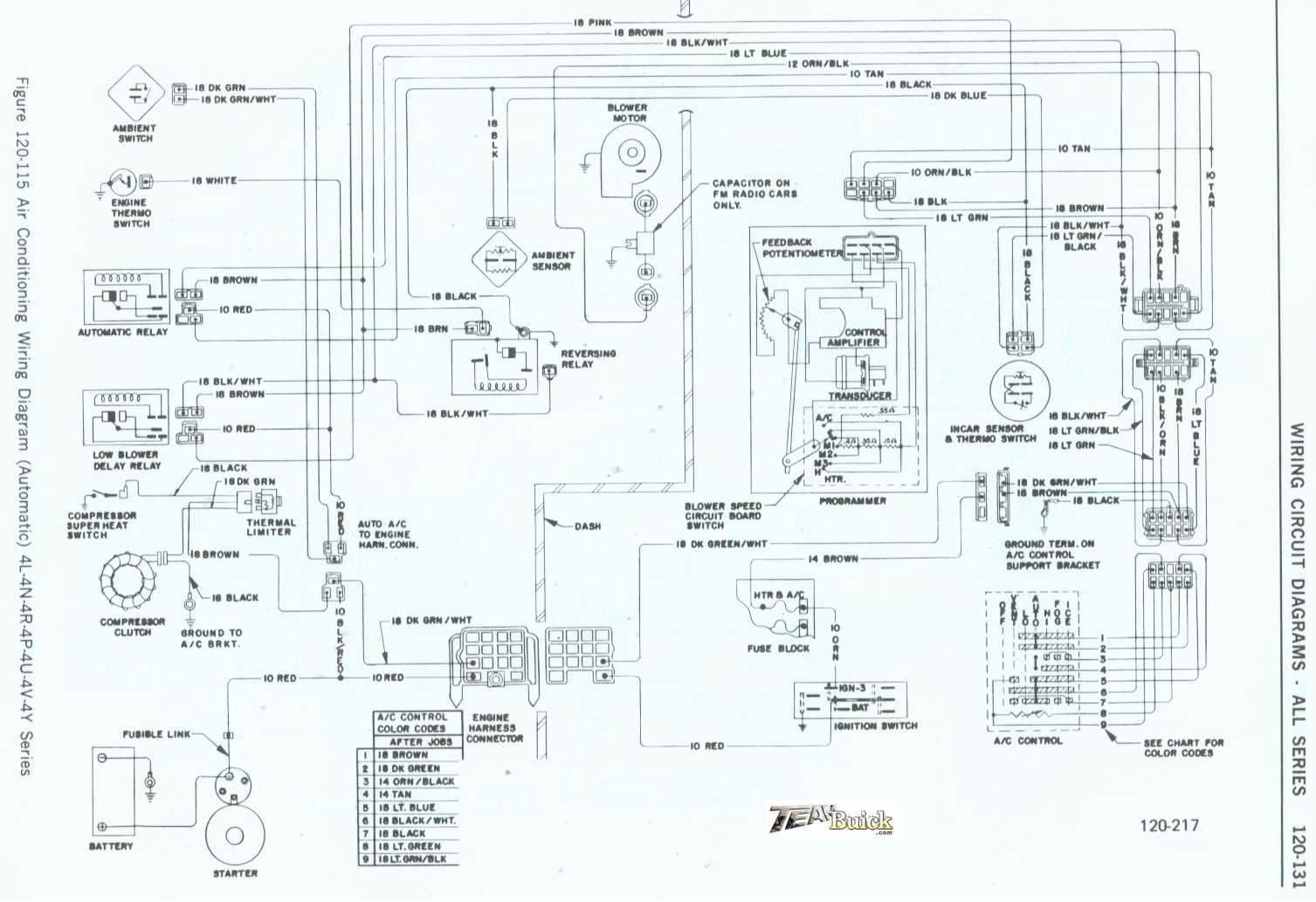 1972 Buick, Air Conditioner Wiring Diagram (Automatic) 4L