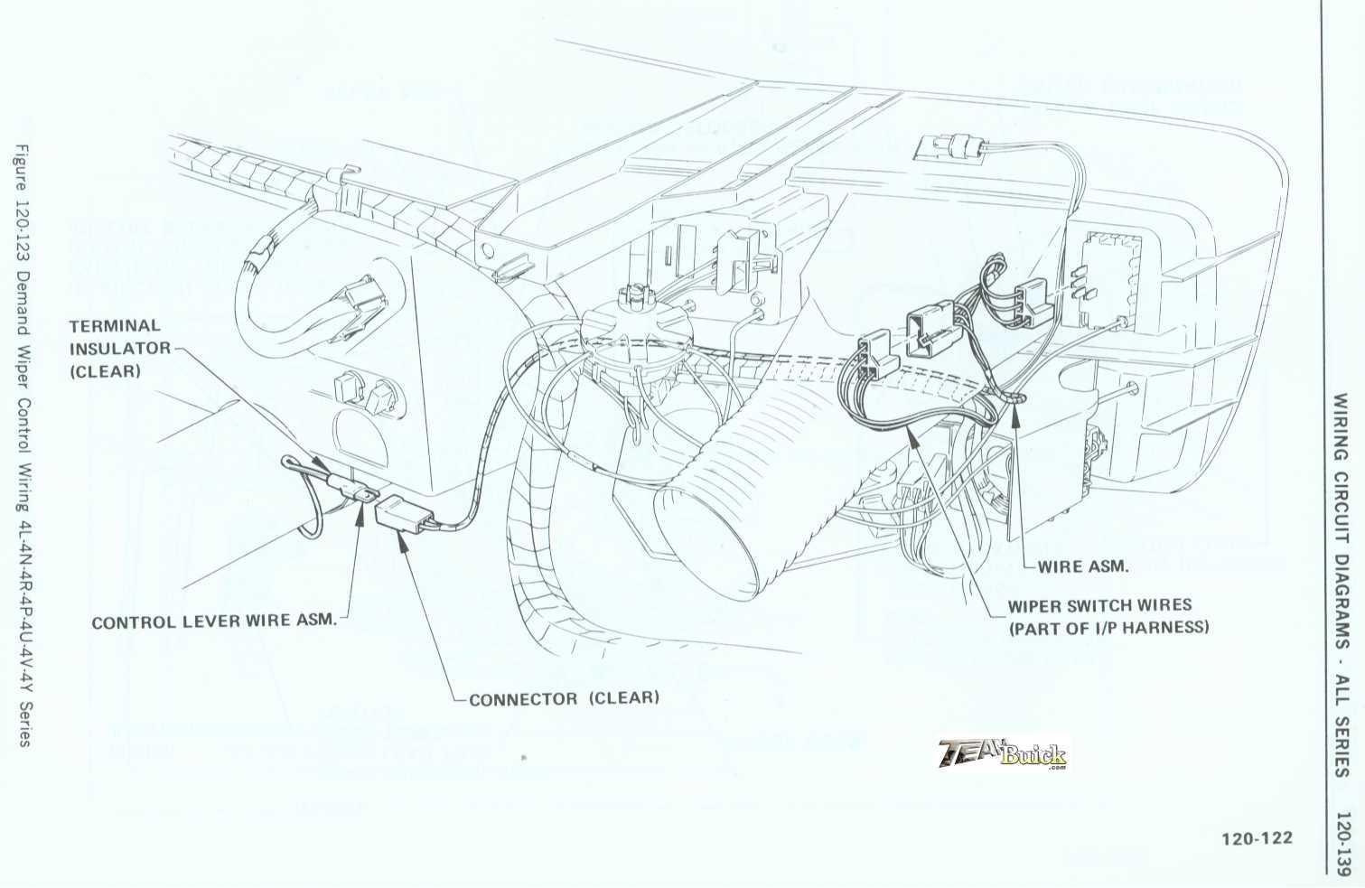1972 Buick, Demand Wiper Control Wiring 4L-4N-4R-4P-4U-4V