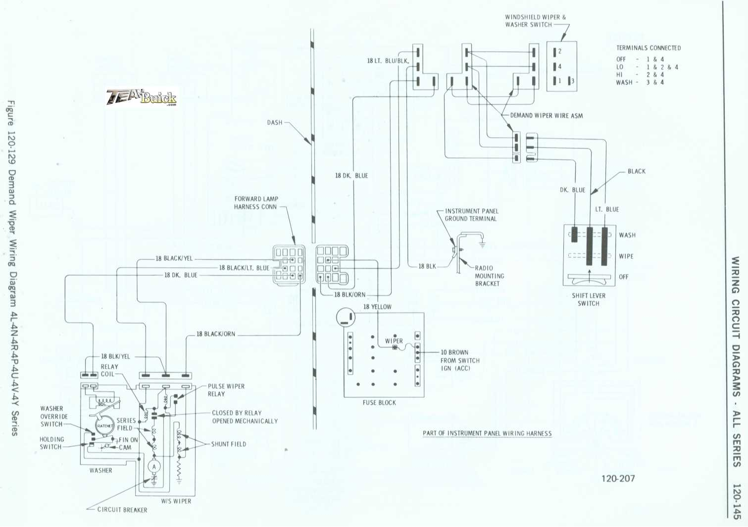 1972 Buick, Demand Wiper Wiring Diagram 4L-4N-4R-4P-4U-4V