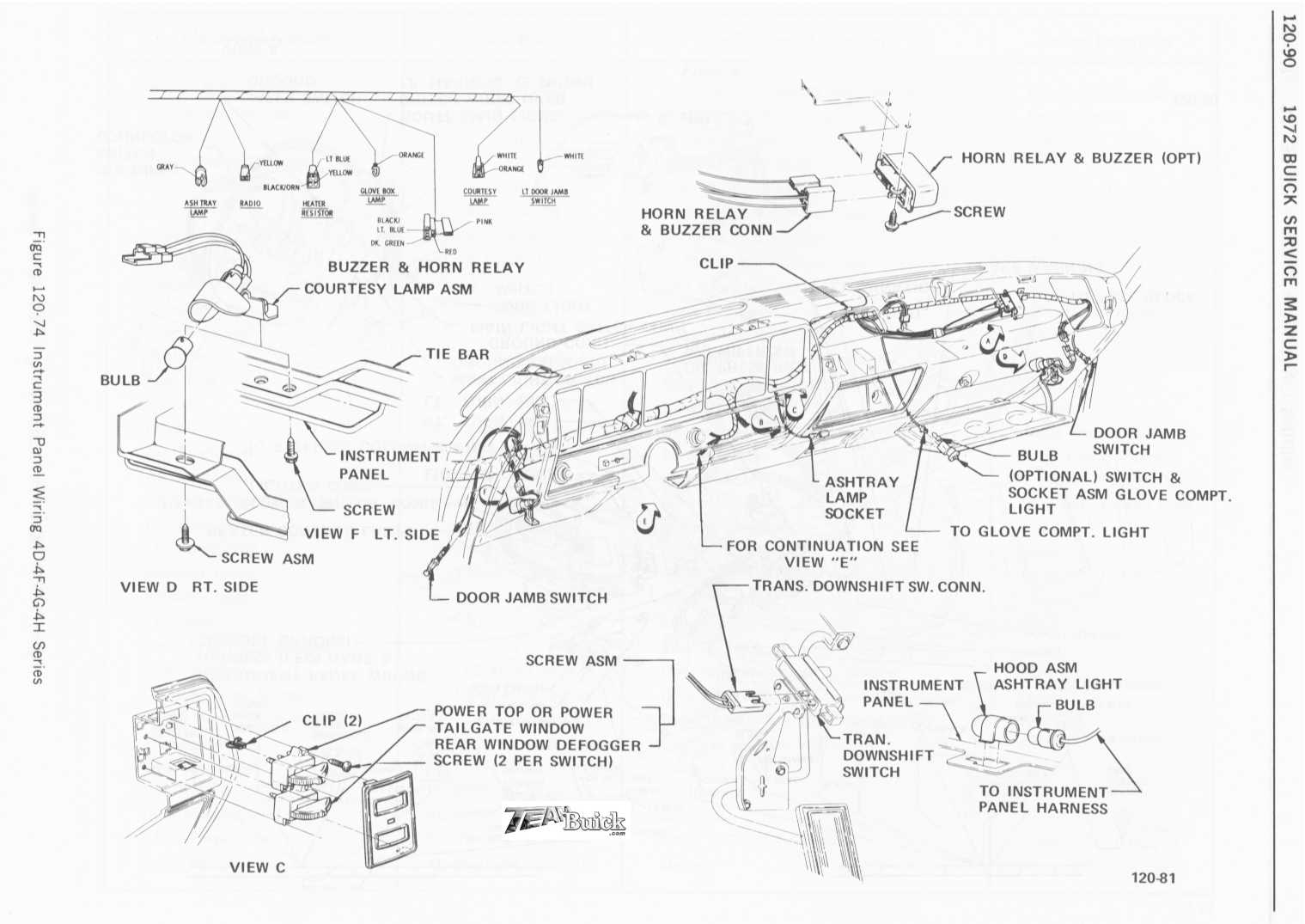 1972 chevelle radio wiring diagram bz 50 buick instrument panel 4d 4f 4g 4h series