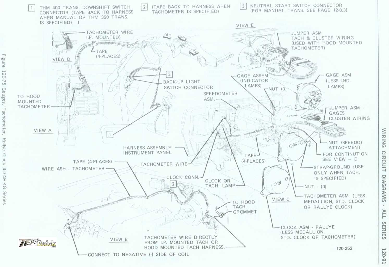 Buick Gauges Tachometer Rallye Clock Wiring