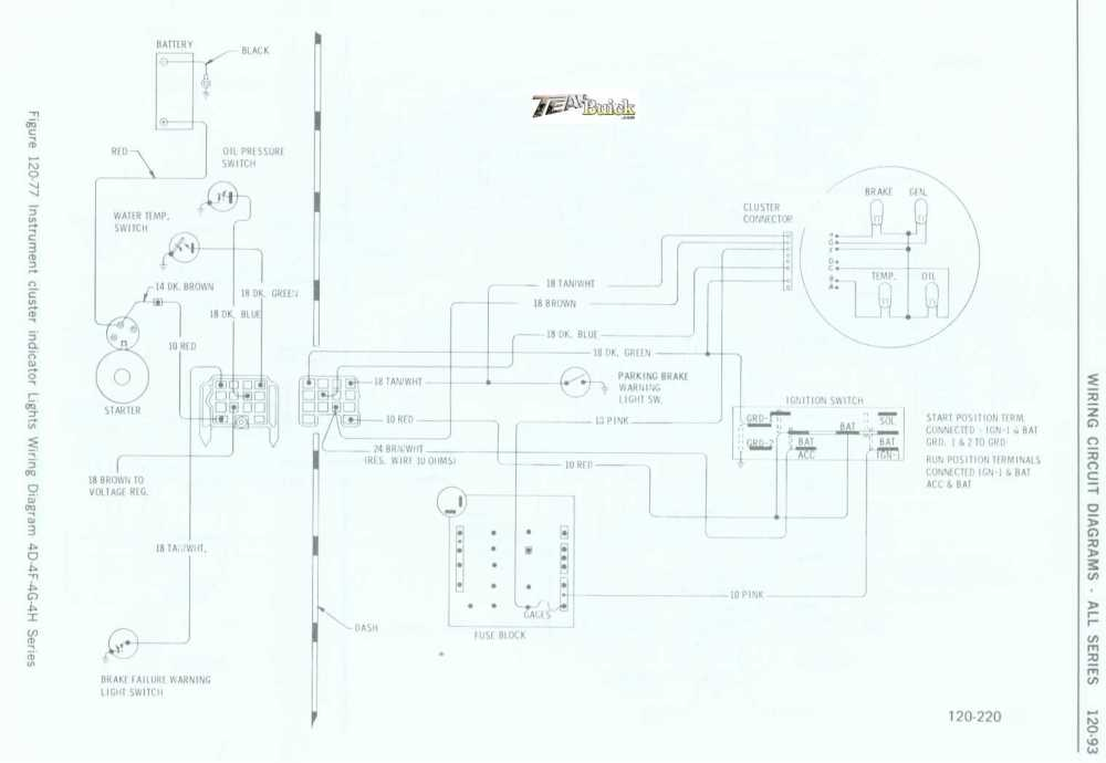 medium resolution of 1972 buick instrument cluster indicator lights wiring diagram 4d 4f 4g 4h series