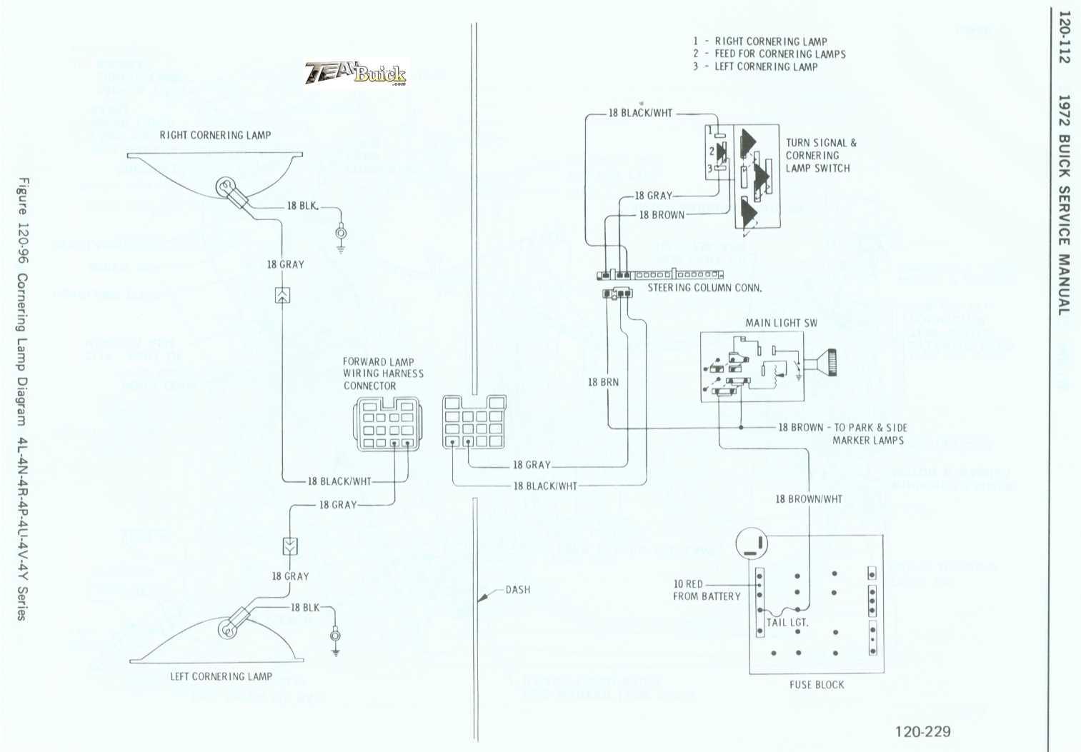 1972 Buick, Cornering Lamp Diagram 4L-4N-4R-4P-4U-4V-4Y Series