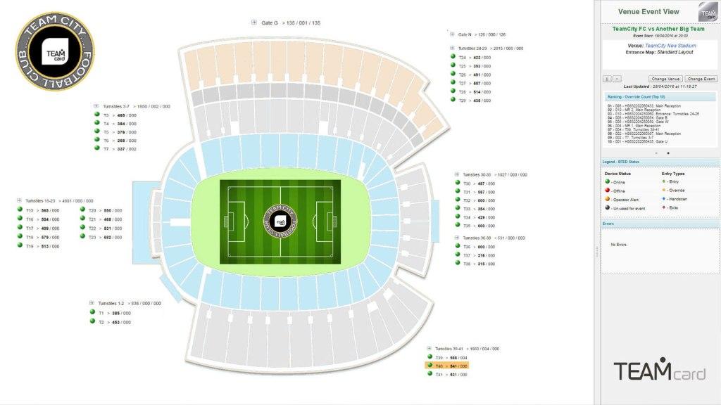 TeamCard software showing stadium