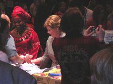 Laura and Princess Zulu making Caregiver Kits
