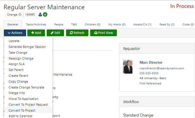 project management update screen