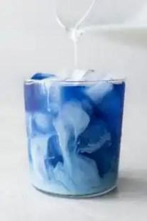 Blue butterfly tea latte