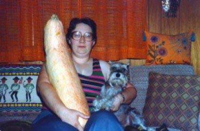 awkward woman squash dog portrait