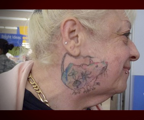 Grandma with Rat Tattoo on neck face, Bad Tattoos, Worst tattoos, funny pictures, horrible, ugliest tats stupid