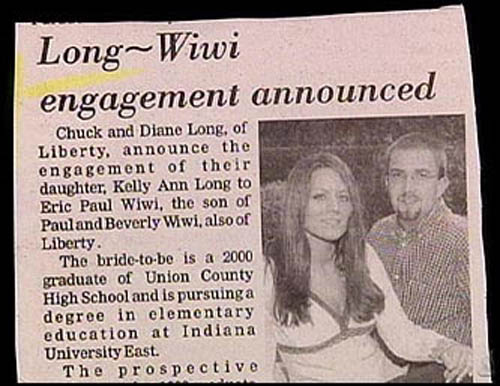 funny engagement announcements, funny wedding announcements in newspaper, Funny Wedding Pictures, bad wedding photography, stupid, awful, worst, wedding dresses Long Wiwi