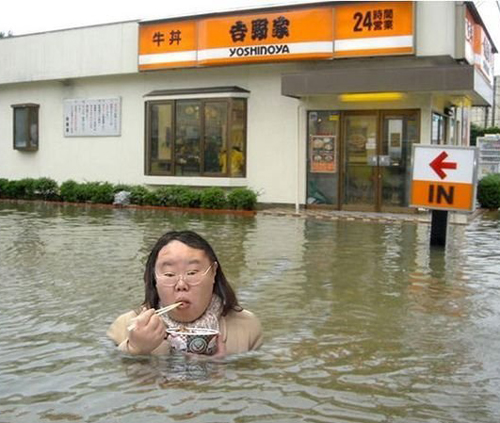woman in flood eating noodles Funny pictures, funny people, awkward family photos, stupid people worst bad tattoos, crazy horrible weird strange wtf photobombs fail