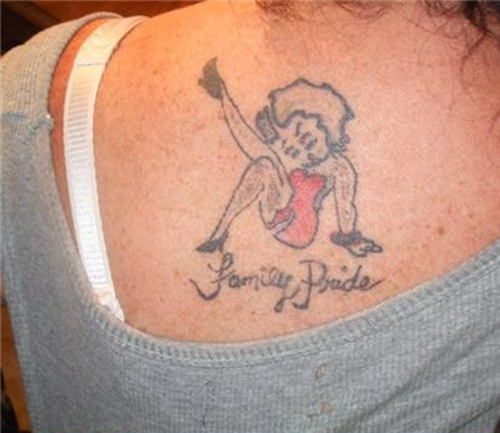 Family Pride Betty Boop tattoo regrettable bad tattoos terrible awful ugliest tattoos wtf ugly horrible tattoos funny tattoos awkward family america's worst tattoos photos crazy people weird stupid redneck humor