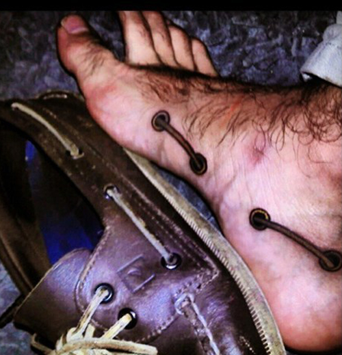 shoelace tattoo regrettable bad tattoos terrible awful ugliest tattoos wtf tattoos, horrible tattoos funny tattoos awkward family america's worst tattoos photos crazy people weird people stupid humor redneck humor photobombs