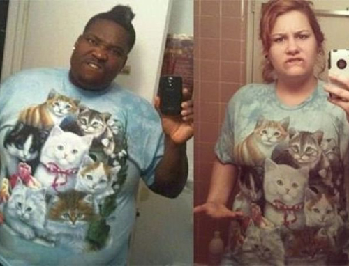 Man wearing Kitten Shirt Worst dressed men fashion disasters fashion fails worst tattoos bad tattoos worst family photos funny family pictures awkward family photos weird poorly dressed men males guys ugly ugliest clothes horrible awful wtf