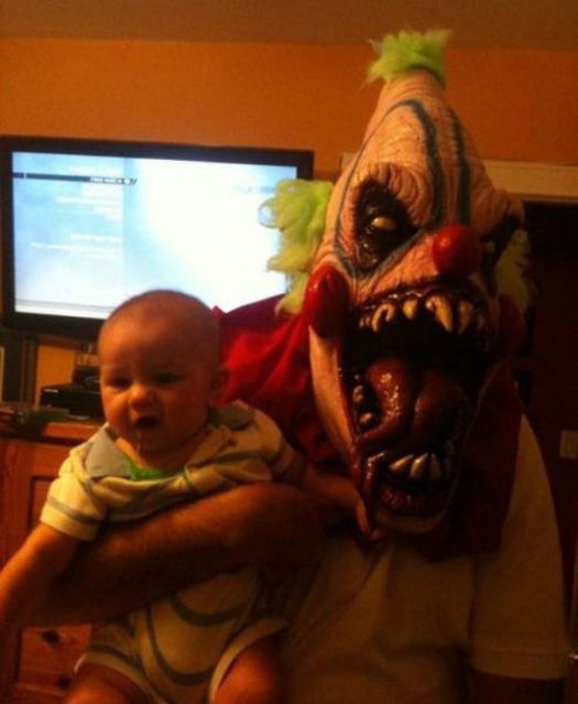 Scary Clown Mask Baby Worst Parents Bad Parents Bad Parenting Moms Dads Awkward Family Photos Stupid Parents Crazy Bad Example Terrible Horrible Awful Weird