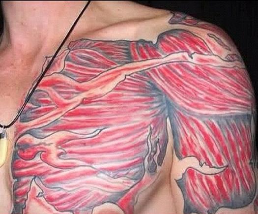 Muscles 3-D Torn Skin Bad Tattoos America's Worst Tattoos Regrettable Horrible Awkward Stupid People Regrets Misspelled Nasty Tats WTF Funny