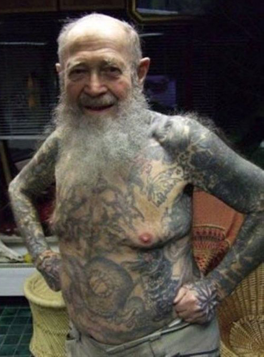 Old Man With Tattoos Worst tattoos Bad Tattoos Funny WTF Regrettable Tattoo Fails Stupid Horrible