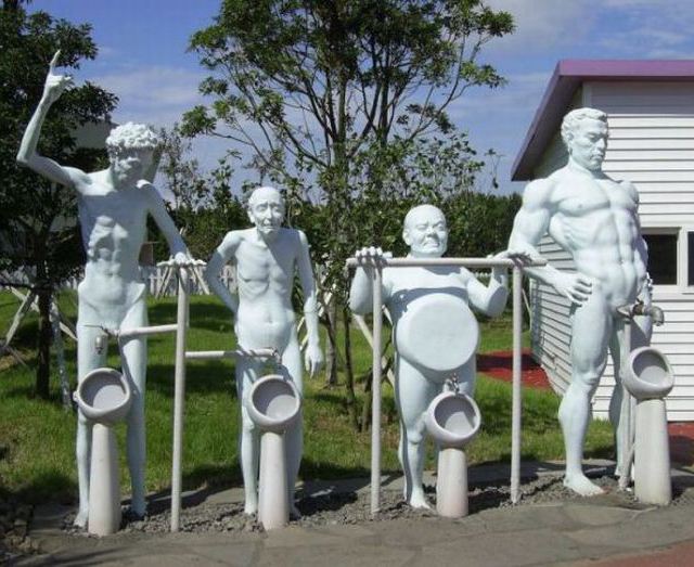 Naked men urinals Funny Statues Weird Statues Bizarre Sexual Strange Statues Awkward Crazy Art