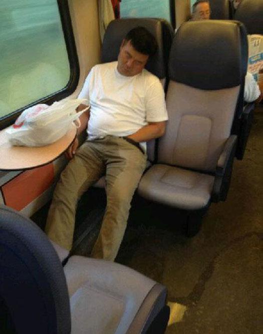 Why I Don't Ride Public Transportation Funny Pics & Memes of Weird Random Humor – sleeping man peed himself