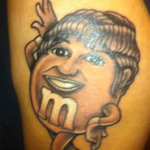 Aretha Franklin M & M – The Worst Bad Tattoos, The Ugliest Regrets, too.