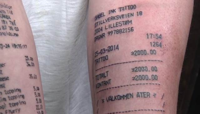 Tattoo Receipt – The Worst Bad Tattoos, The Ugliest Regrets, too.