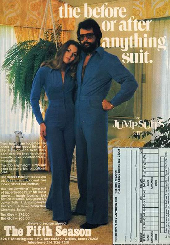 His & Her Jump Suits ~ 35 Bitchin' 1970s Mens Fashions