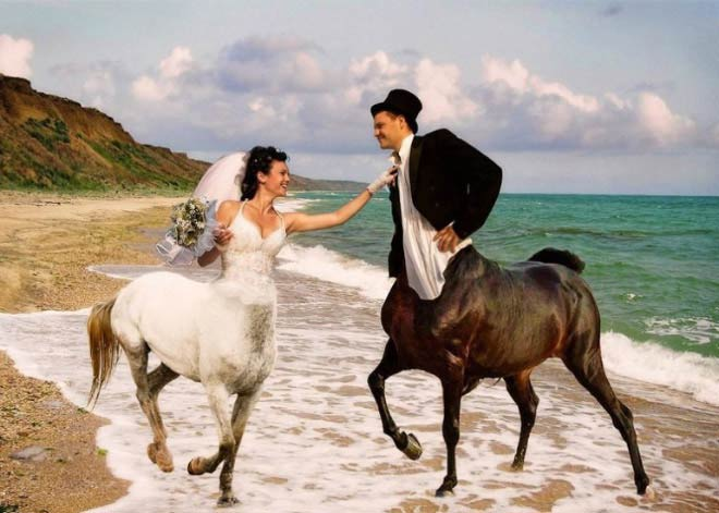 Russian Bride & Groom Centaurs on beach ~ 14 Funny Wedding Pics