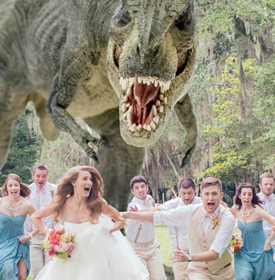 T-Rex chasing bridal party ~ 14 Funny Wedding Picss