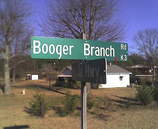 Booger Branch Street Sign ~ 25 Funny Signs