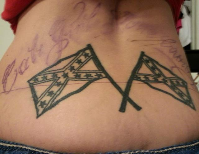 Confederate Flags Tramp Stamp ~ 14 of the Worst Bad Tattoos
