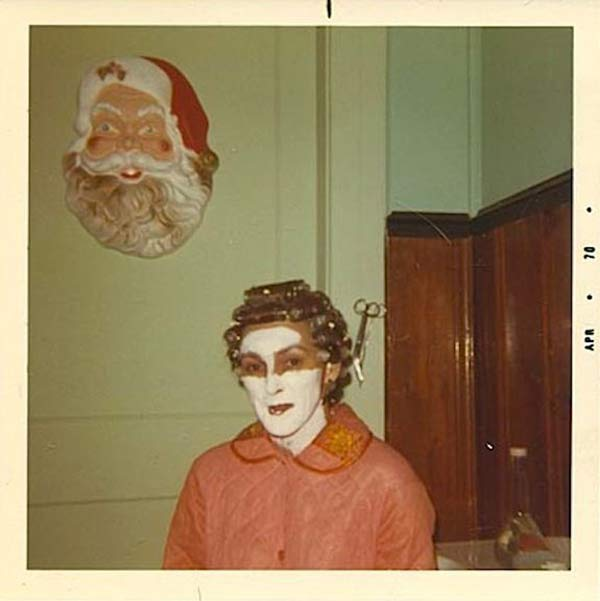 1970, Woman in Mask & Curlers ~ 27 Funny & Creepy Family Christmas Pics