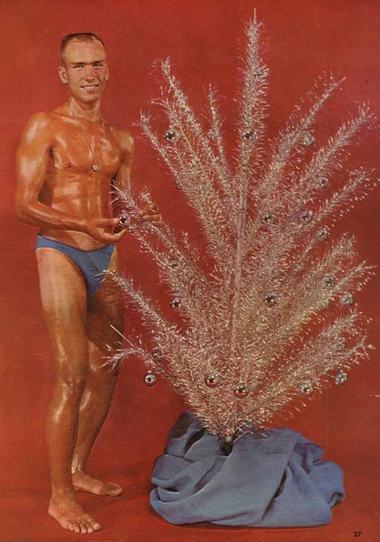 Vintage Body Builder Decorating Aluminum Tree ~ 27 Funny & Creepy Family Christmas Pics
