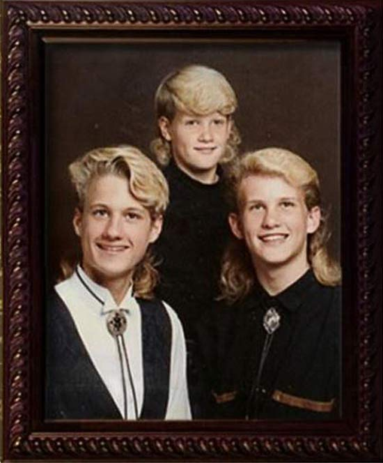 Awkward Portrait: Brothers with Mullets ~ 16 Funny Family Photos