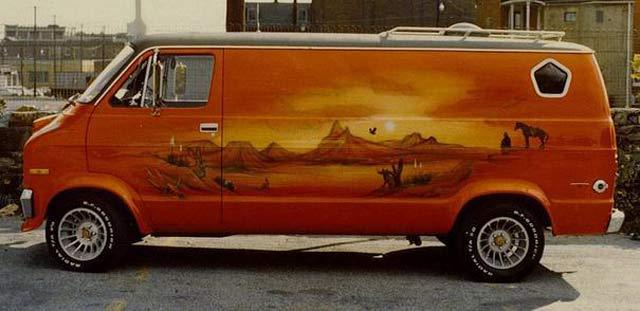 1970s Custom Van~ Airbrushed Desert Scene
