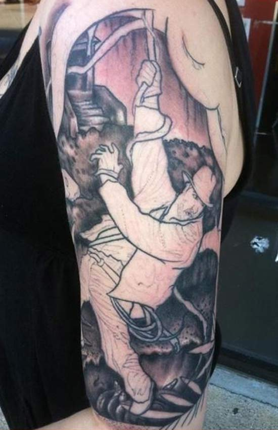 Indiana Jones Swinging on Whip Temple of Doom ~ 15 of the Worst Bad Tattoos