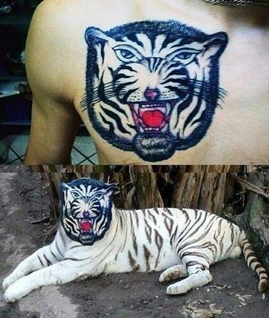 $5.oo Tiger ~ 16 of the Worst Bad Tattoos