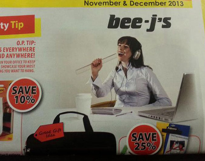 Bee-js advertisement with woman holding a ruler to look like she's giving it a bj
