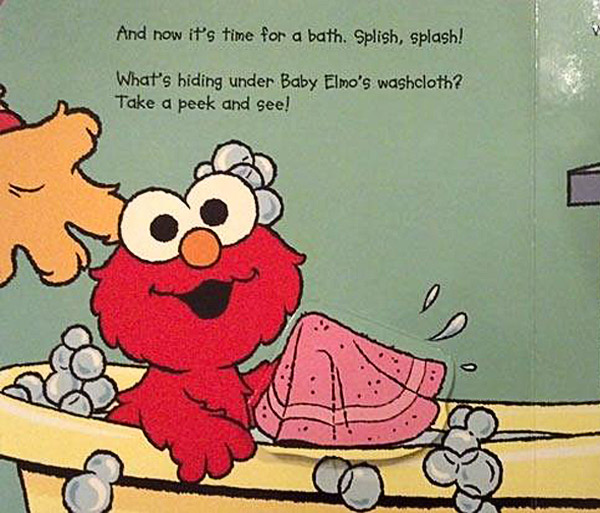 Kid's Book: Elmo in bathtub with what looks like his erect penis underneath his washcloth