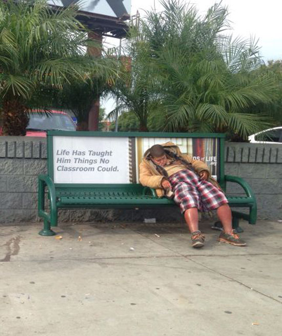 Man passed out on bench, life has taught him lessons no classroom can